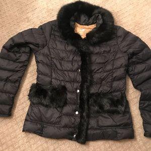 Down jacket, sweater, waist trainer